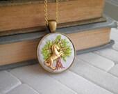 Unicorn Necklace - Embroidered Tree of Life & Miniature Unicorn Pendant - Tiny Tree Embroidery Fiber Art Nature Jewelry - Boho Gift for Her