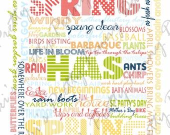 Spring Subway Art 0, Printable Subway Art, Word Wall Art, Seasonal Subway Art