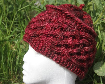 Bonnet deep red with cables knitted hand