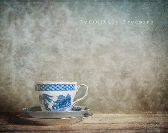 Photographic Art - Minimalist Still Life Photo of Vintage Teacup, Fine Art Photograph, Kitchen Wall Art, Vintage Inspired, 10x8, 14x11 photo