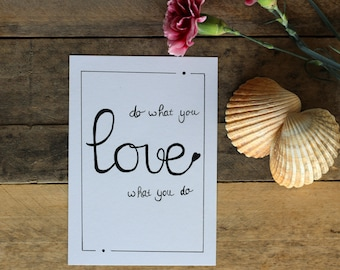Map Do what you love | Postcard quote spell love handlettering
