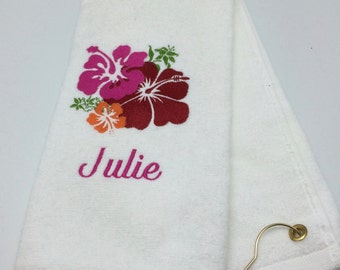 Personalized Embroidered Golf Towel Hawaiian Hibiscus Flower