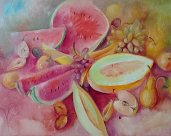 still life painting. watermelons and melons with fruits