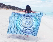 Blue ombre mandala beach throw tapestry