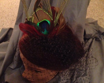 Black birdcage veil with feathers