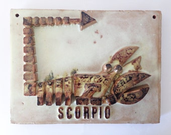 XL High-relief Ceramic Plate -Zodiac Sign SCORPIO - Star Sign