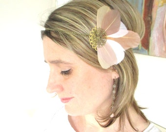 Headband/hair accessory, wedding feathers bird beige/Tan-spirit retro, vintage, roaring twenties