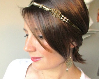 Headband bridal-Pearl Crystal and glass-colour pink powder and nude-bride retro, vintage and chic.