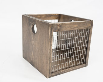 Rustic wooden crate - Farmhouse wooden crate - Wood cube - Rustic storage crate - Industrial crate - Farmhouse storage crate - Cube storage