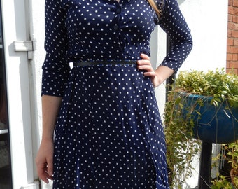 1940s navy blue polkadot dress