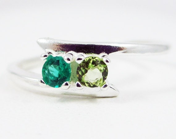 emerald and peridot ring sterling silver s ring by