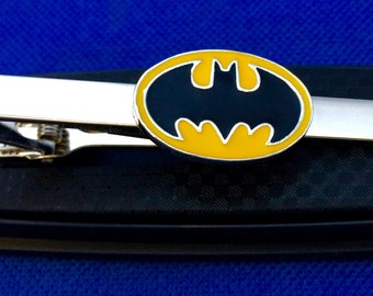 Batman tie bar Yellow and Black Logo Tie Clip Superhero gift idea~Handmade in the USA~FAST Shipping from the USA