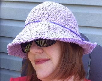 Women sun hat, Crochet  sun hat, wide brim hat, women summer hat, beach hat, cloche hat, cotton sun hat, women fedora, purple fedora