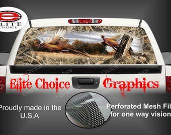 Ringneck Pheasant Tallgrass Duck Camo Rear Window Graphic Tint Decal Sticker Truck SUV Van Car