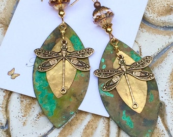 large dragonfly earrings, dangle earrings, verdigris patina dragonfly earrings, nature jewelry, dragonfly jewelry, Boho
