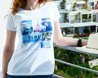 T shirt travel - CUBA - womens clothing - cotton tee - made in Bulgaria - original design by ©When Woman Travels