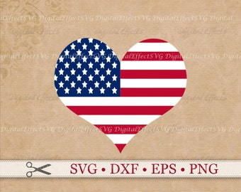 American Flag SVG, Heart Shaped Flag Svg, Png, Dfx, Eps; Patriotic Svg, July 4 Svg, USA Svg Flag, Silhouette Studio, Cricut, Cut Files