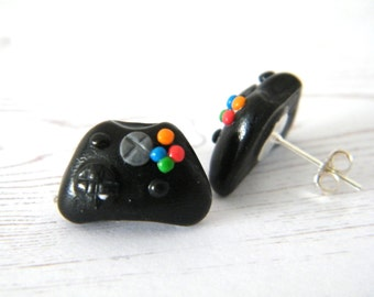 Games Controller Earrings - Polymer clay games controller stud earrings, gamer earrings, gamer gifts, geek gifts, gifts for her