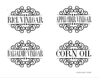 Oil and Vinegar Pantry Labels Vol, 1