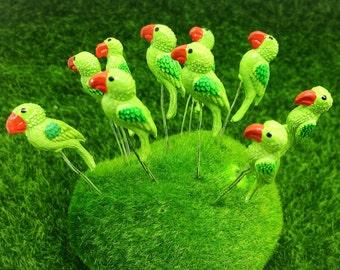 5 Terrarium Mini Green Color Parrot Stake Miniature Dollhouse Fairy Garden