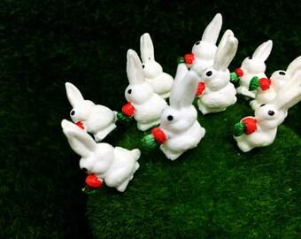 5 Terrarium Mini White Rabbit Stake Miniature Dollhouse Fairy Garden#01