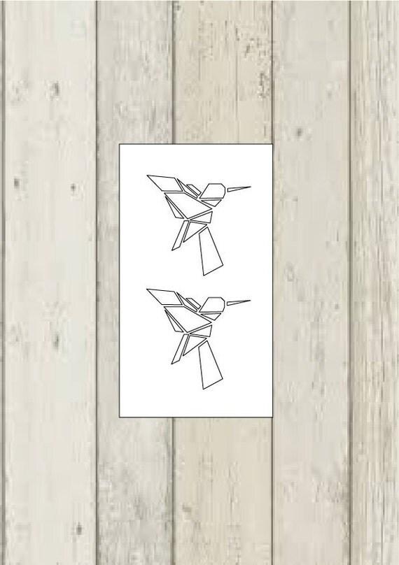 2 hummingbird temporary tattoos / origami tattoo / hummingbird - photo#2