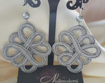 Earrings silver trimmings
