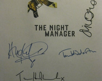 The Night Manager Signed TV Script Screenplay Autograph Hugh Laurie Tom Hiddleston Elizabeth Debicki Olivia Colman Tom Hollander signature