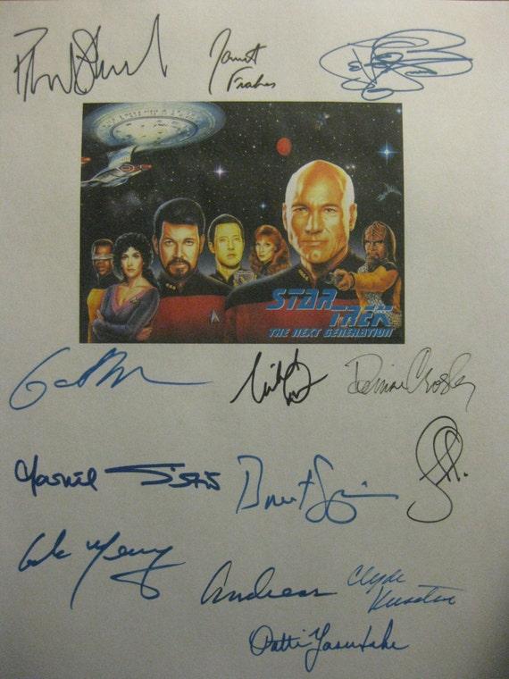 Star Trek The Next Generation Finale Signed TV Screenplay Script x13 Autographs Patrick Stewart Jonathan Frakes LeVar Burton Michael Dorn