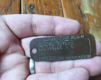 Antique South Carolina Drivers License Brass Metal 1937