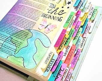 Colorful Printed Bible Tabs: Unique, colorful bible tabs. Handmade laminated Bible tabs with adhesive