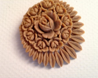 Vintage Carved Celluloid Brooch, circa 1930s