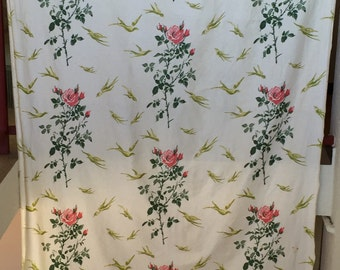 Pair of curtains decorated with flowers vintage