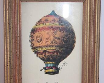 Vintage print, Balloon wall art, small wall art, Hot air balloon wall art