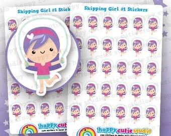 30 Cute Skipping Girl #1 Planner Stickers, Filofax, Erin Condren, Happy Planner, Kawaii, Cute Sticker, UK