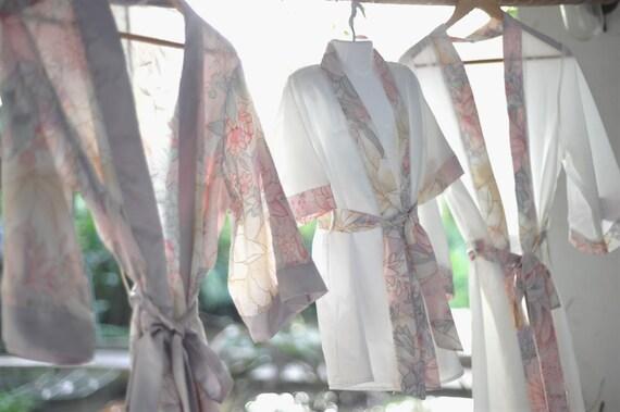 short kimono flower girl robe, blush dove grey satin robe, blush grey lilly floral, shiny satin wedding dress, flower girls wedding dress