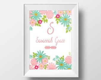 Nursery Name Art, Girl's Name wall decor, floral name wall art, personalized nursery decor, nursery printable, monogram print, baby decor