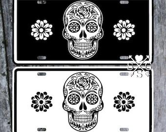Sugar Skull Dia De Los Muertos Mexican Gothic Halloween License Plate Car Tag