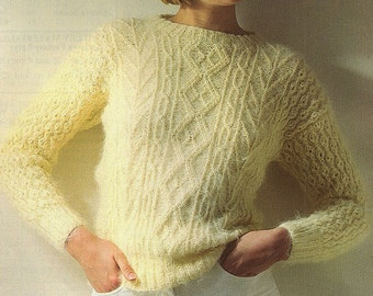 Ladies Boatneck Cable Sweater, Knitting Pattern. PDF Instant Download.