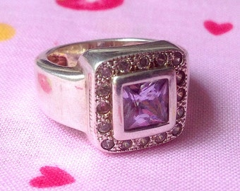 Ring Vintage silver and Amethyst size 55