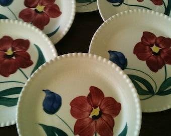 Set of 6 vintage Heritage Ware Stetson hand painted floral dessert plates