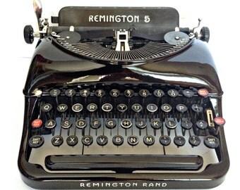 Remington 5 Manual Portable Typewriter - Streamlined Art Deco