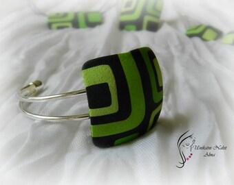 Green retro bracelet / Square bracelet/ Cuff bracelet / Polymer clay bracelet