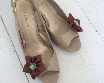 Chocolate brown turqouise and cream shoe / hair clips hand made fabric flower satin, special occassion wedding accessory