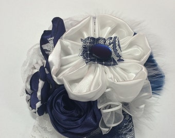 Satin and sheer navy and white handmade fabric flower formal or wedding accessory - two ways