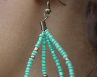Green beads custom earrings