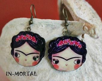 Frida Kahlo Earrings,Girly Mexican Earrings, Frida Kahlo Girl Portrait Earrings, Wodden Earrings