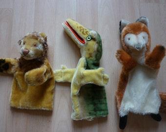 Steiff Glove Puppets Aligator/crocodile, fox and lion