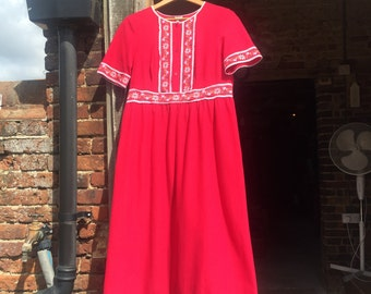 Red Embroidered Long Dress