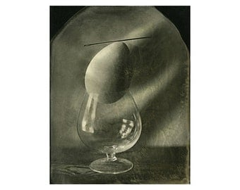 """The balance of the glass, needles, eggs. Ambrotypes glass 8""""x10"""", Wetplate Collodion Photograph, Art photography, Wall art, Artwork, Gifts."""